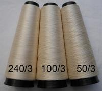 Cordonnet silk Schappe Ecru Naturel  100/3 Nm= 40/2 Nec 500 meter/cone